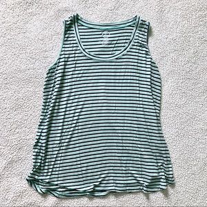 Maurices Mint/Navy Blue Striped Tank Top